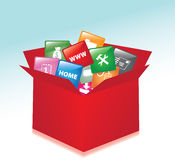 Cardboard box whit web buttons Stock Image