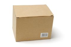 Cardboard box on white Stock Photography