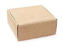Cardboard box on a white background Stock Photos