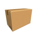 Cardboard Box  on white background. 3D rendering of a cardboard box Stock Photos