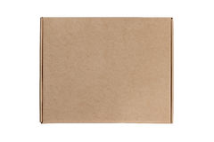 Cardboard box on white background with reflection stock photos