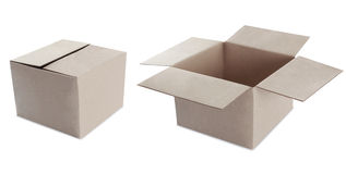 Cardboard box on white. open and closed royalty free stock image