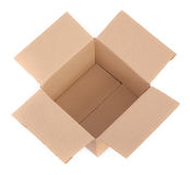 Cardboard box on white - top view Stock Image