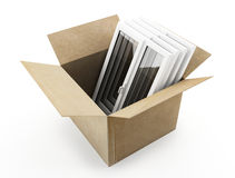 Cardboard box and windows Stock Image