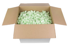 Cardboard box witch plastic protective granules Stock Image