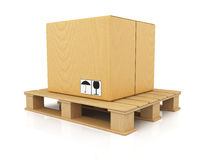 Cardboard box on wooden pallet Stock Photos
