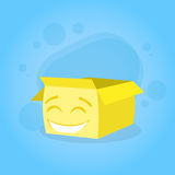 Cardboard Box Yellow Cartoon Character Happy Smile Royalty Free Stock Images