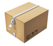 Cardboard box with the zipper Royalty Free Stock Image