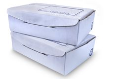 Cardboard Boxes - #1. White Cardboard Boxes over white background Royalty Free Stock Photography