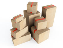 Cardboard boxes. 3d illustration on white background Stock Photo