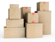 Cardboard boxes. 3d illustration on white background Royalty Free Stock Image
