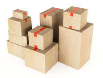 Cardboard boxes. 3d illustration on white background Royalty Free Stock Photo