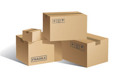 Cardboard boxes. Stack of cardboard boxes with fragile label, isolated on white background royalty free illustration