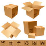Cardboard boxes. Set of cargo cardboard boxes and signs Royalty Free Stock Image
