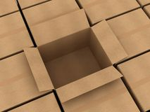 Cardboard boxes. Opened cardboard box and some clossed boxes vector illustration