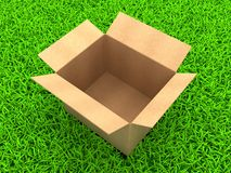 Cardboard boxes. 3D Illustration Opened cardboard box on Green Grass royalty free illustration