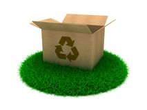 Cardboard boxes. 3D Illustration Opened cardboard box on Green Grass stock illustration