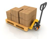 Cardboard Boxes. On Pallet Truck on White stock illustration