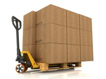 Cardboard Boxes. On Pallet Truck on White vector illustration