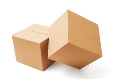 Cardboard boxes. Close-up of two cardboard boxes Stock Photo
