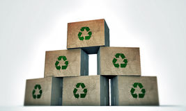 Cardboard boxes. With recycle symbol on white background stock illustration