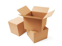 Cardboard boxes. A stack of cardboard boxes Royalty Free Stock Photos