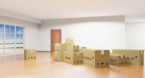 Cardboard boxes. Home interior with cardboard boxes Stock Photography