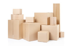 Cardboard boxes. Stack on white, clipping path Stock Photo