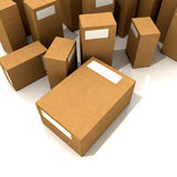 Cardboard boxes. In different sizes stock illustration