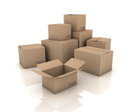 Cardboard boxes. 3D generated image Royalty Free Stock Photography