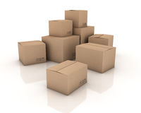 Cardboard boxes. 3D generated image Stock Photo