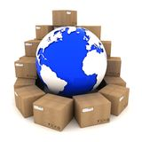 Cardboard boxes around Earth. On white background vector illustration