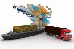 Cardboard boxes around globe, cargo ship, truck and plane stock illustration