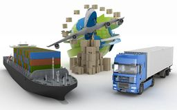 Cardboard boxes around globe, cargo ship, truck and plane Stock Photo