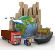 Cardboard boxes around globe, cargo ship, truck and plane. Royalty Free Stock Photo