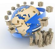 Cardboard boxes around globe Stock Images