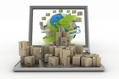 Cardboard boxes around the globe on a laptop screen Royalty Free Stock Photos