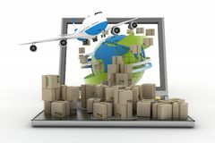 Cardboard boxes around the globe on a laptop screen and airplane Royalty Free Stock Photography