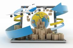 Cardboard boxes around the globe on a laptop screen and airplane Stock Image