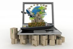 Cardboard boxes around globe on laptop screen, cargo ship and plane Stock Image