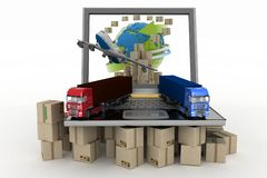 Cardboard boxes around globe on laptop screen, plane and two trucks Royalty Free Stock Images