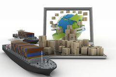 Cardboard boxes around the globe on a laptop screen and two cargo ships Royalty Free Stock Photo