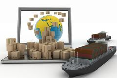 Cardboard boxes around the globe on a laptop screen and two cargo ships Stock Images