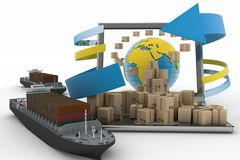 Cardboard boxes around the globe on a laptop screen and two cargo ships Royalty Free Stock Images