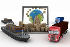 Cardboard boxes around the globe on a laptop screen, two cargo ships and two trucks Stock Photography
