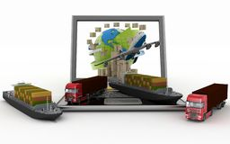 Cardboard boxes around the globe on a laptop screen, two cargo ships and two trucks Stock Images