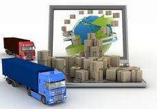 Cardboard boxes around the globe on a laptop screen and two trucks Stock Photos