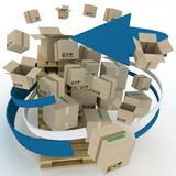 Cardboard boxes around pallets Royalty Free Stock Images