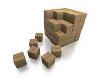 Cardboard boxes as a stack with loose boxes Stock Photos