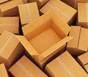Cardboard boxes background. Royalty Free Stock Images